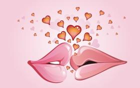 Обои любовь, поцелуй, губы, сердечки