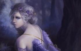 Обои грусть, лес, девушка, цветы, розы, крылья, арт
