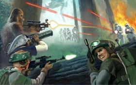 Картинка лес, взрыв, оружие, атака, робот, арт, star wars
