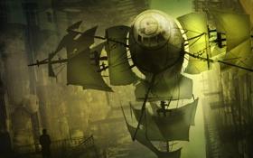 Картинка город, транспорт, человек, корабль, фигура, силуэт, арт