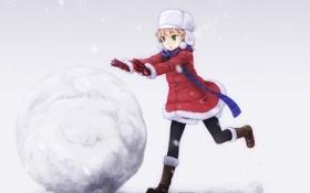 Обои зима, снег, настроение, игра, аниме, девочка
