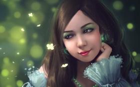 Картинка девушка, бабочки, лицо, красивая, art