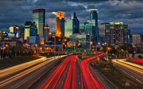 Картинка дорога, свет, город, огни, дома, вечер, выдержка