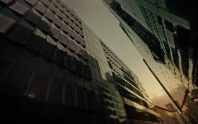 Картинка ракурс, здания, фото, тень, обои, отражение, стекло