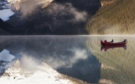Обои Горы, Озеро, Лодка, Утро, Каноэ, Lake Louise, Canada