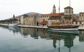 Картинка море, набережная, Хорватия, старый город, Ядран, Трогир
