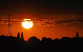 Картинка небо, солнце, облака, деревья, закат, провода, силуэт