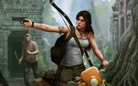 Обои девушка, мужик, мотоцикл, Tomb Raider, бандит, крофт, лара