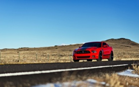 Обои красный, mustang, мустанг, red, ford, форд, босс