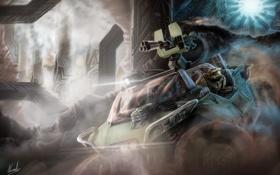 Картинка машина, оружие, человек, пыль, арт, колонны, halo 4