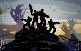 Картинка небо, оружие, игра, вертолеты, арт, gears of war 3