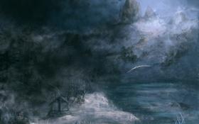 Картинка зима, снег, полет, горы, река, птица, арт
