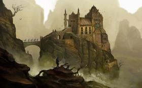 Картинка мост, замок, скалы, человек, меч, арт, крепость