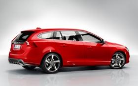 Картинка машина, красный, Volvo, универсал, V60, R-design