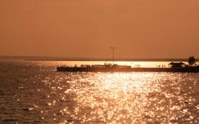 Обои море, солнце, закат, река, люди, Вода, веселье