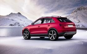 Картинка снег, горы, Audi, ауди, джип, паркетник