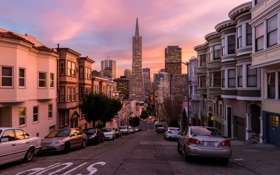 Картинка город, улица, вечер, Калифорния, USA, California, San Francisco