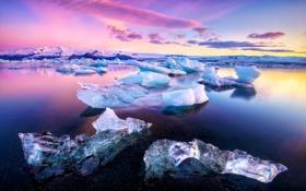 Картинка лед, зима, снег, горы, озеро, рассвет