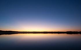 Обои закат, небо, вечер, вода, озеро, гладь
