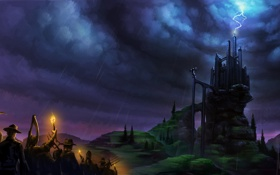 Картинка дорога, небо, ночь, тучи, люди, замок, молния