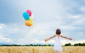 Обои поле, настроение, шары, девочка