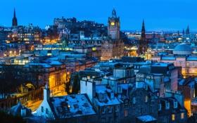 Обои снег, ночь, огни, дома, Шотландия, Эдинбург