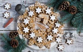 Картинка зима, еда, печенье, фигурки, выпечка, печеньки