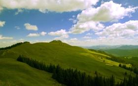 Обои небо, облака, горы, холмы