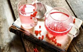 Картинка чайник, книга, напиток, смородина