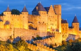 Обои небо, башня, крепость, замок, каркасон, холм, стена