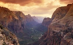 Картинка пейзаж, горы, река, ландшафт, вид, Природа, долина