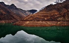 Картинка вода, снег, горы, озеро, камни, аляска