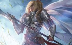 Картинка девушка, меч, воин, арт, броня, рыцарь