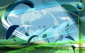 Обои полет, коллаж, обои, вектор, силуэт, парашют, Paragliding