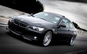 Обои дорога, чёрный, скорость, BMW, 335i