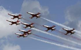 Обои авиация, эскадрилья, Turkish Старс, NF-5АБ, Цанадайр, пилотажная, F-5