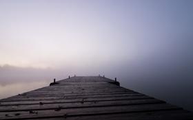 Картинка пейзаж, мост, туман, озеро