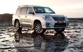 Картинка отражение, Lexus, серебристый, джип, лексус, передок, люксовый
