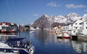 Картинка скалы, Норвегия, катера, поселок, рыбачий