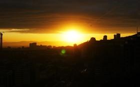Картинка солнце, облака, закат, город, вечер, владивосток
