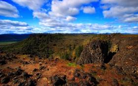 Картинка лес, лето, небо, облака, горы, природа, скалы
