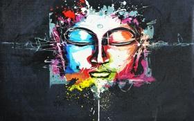 Картинка цвета, лицо, краски, масло, холст, роспись, божество
