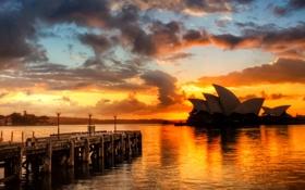 Обои закат, облака, небо, Australia, Sidney, Австралия, море