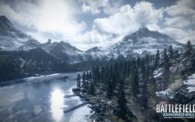 Картинка лес, горы, озеро, Battlefield 3, premium, armored kill