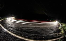 Обои дорога, звезды, свет, ночь, night, stars, roads