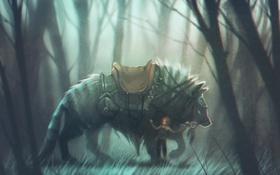 Картинка волк, девочка, седло