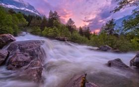 Картинка лес, деревья, горы, река, поток, Норвегия, Norway