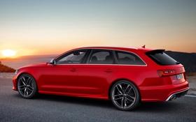 Обои машина, небо, закат, Audi, ауди, универсал, Avant