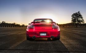 Картинка красный, 911, Porsche, сзади, red, порше, GT2