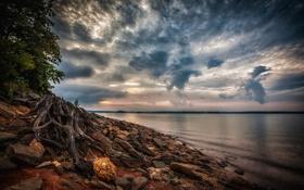Картинка США, пейзаж, HDR, облака, Sidney, Lanier, озеро